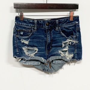 American Eagle | Distressed Hi-Rise Shortie Shorts